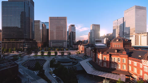 TimeLapse - Scenery of Tokyo Marunouchi from day to night Zoom in GIF