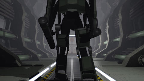 Animation of a futuristic mech walking through a cargo hangar Animation