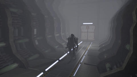 Animation of a futuristic mech walking through a corridor Animation