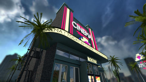 Animation of a cinema movie theater Stock Video Footage