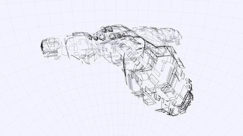 Blueprint of a futuristic spaceship Animation