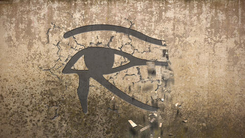 Eye of horus falls out of an old wall Animation