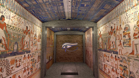 A 3D animation of a tomb in ancient Egypt. A greenscreen at the end of the Animation