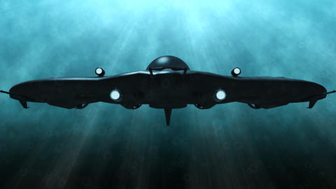 Futuristic submarine underwater scene Animation
