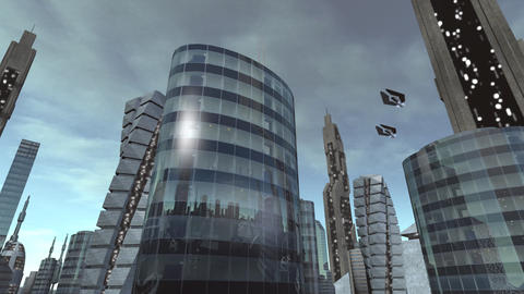 Building in futuristic city with spaceships passing by Animation