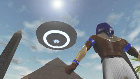 Animation of the egyptian god Horus and an UFO Animation