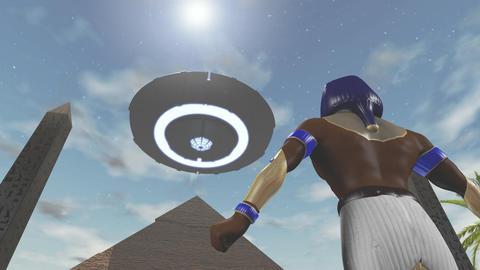 Animation of the egyptian god Horus and an UFO, Stock Animation