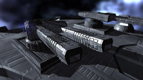Turrets on a spaceship Animation