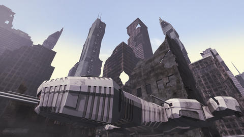 Spaceship taking off a ruined city Animation