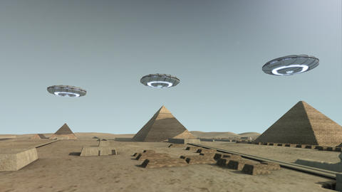 The Giza platform Egypt with some UFOs Animation