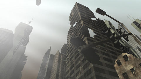Collapsing building in an animated city Animation