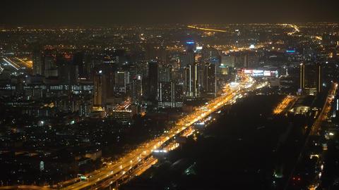 Aerial shot of city at night GIF
