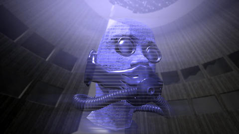 Animation of a speaking holographic head Animation