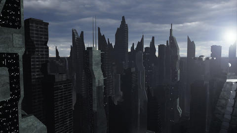 Spaceship flying above a futuristic city Animation
