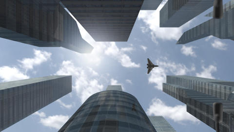 Futuristic spaceship flying above modern skyscrapers Animation