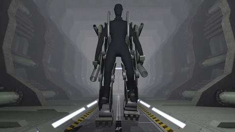 Animation of a futuristic mech firing with guns Animation