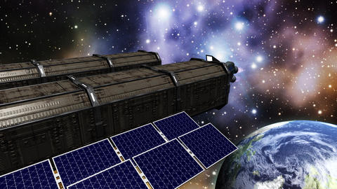 Animation of a space station in space Animation