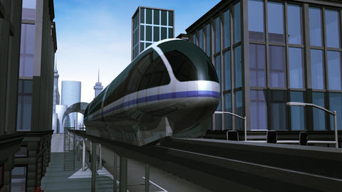 Monorail passing by in city 애니메이션