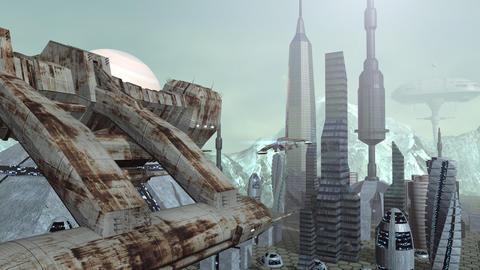Animation of futuristic spaceships above pyramid city Animation