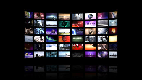 Video wall including fast zoom Stock Video Footage