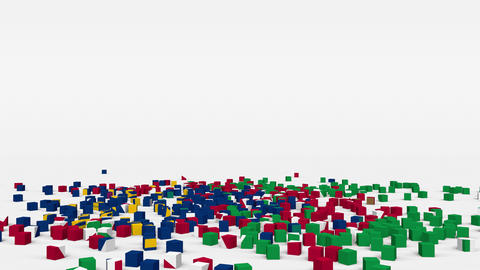 Flag of Namibia created from 3d cubes in slow motion Animation