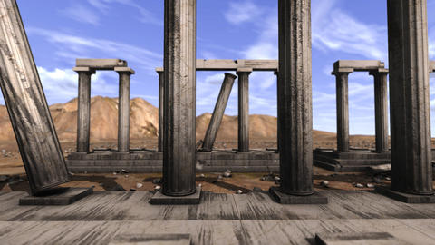Tracking shot of Greek pillars Animation