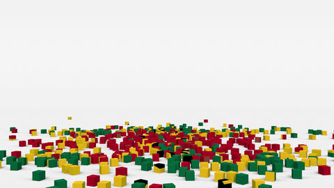 Flag of Ghana created from 3d cubes in slow motion Animation