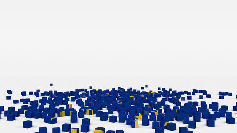 Flag of European Union created from 3d cubes in slow motion Animation