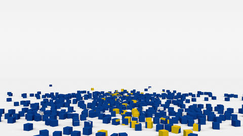 Flag of Kosovo created from 3d cubes in slow motion Animation