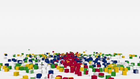 Flag of Central African Republic created from 3d cubes in slow motion Animation