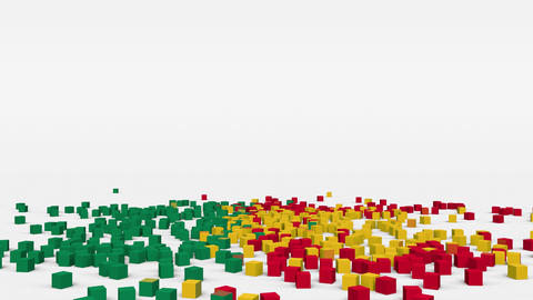 Flag of Benin created from 3d cubes in slow motion Animation