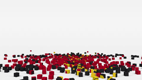 Flag of Angola created from 3d cubes in slow motion Animation