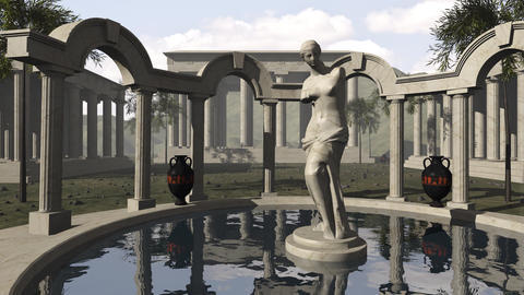 Ancient greek temple with Venus of Milo Animation