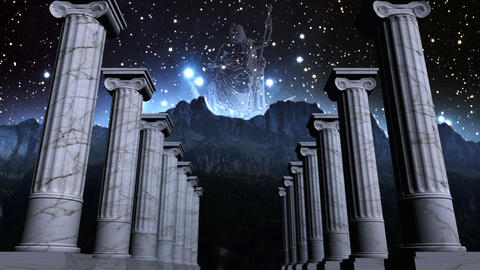 Greek pillars in cosmic scene Animation