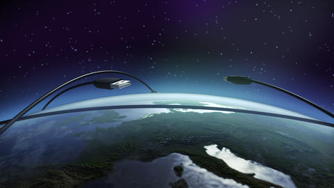 USB flying above earth Animation