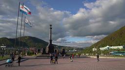 Stela City of Military Glory on City Petropavlovsk Kamchatsky. Russian Far East Footage