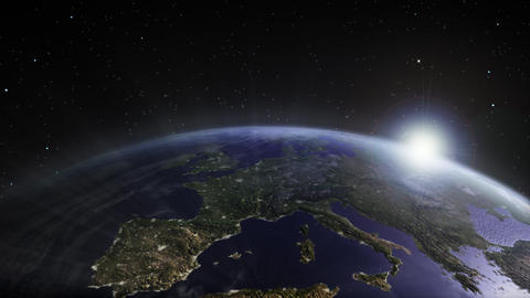 Earth sunrise Europe Animation