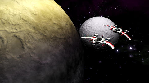 Futuristic spaceships flying above planet and moon Animation