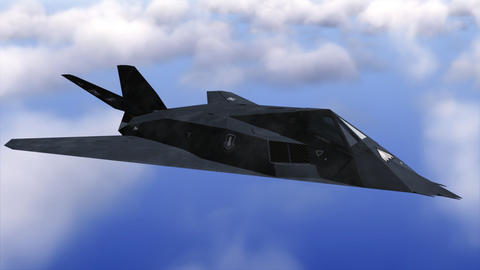 Stealth F-117 Nighthawk flying above clouds Animation