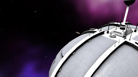 Futuristic animation of cargo and a space ship Animation
