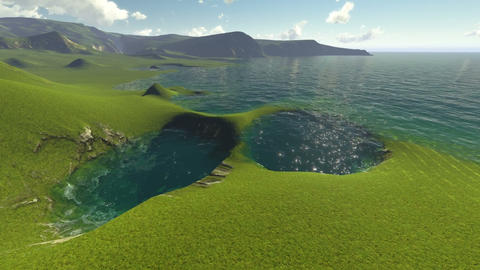 3d animation - Green Water at the River, looking upstream Animation