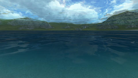 3d animation - Underwater landscape with a camera from the surface of the water Animation