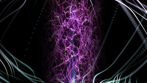 3d rendering background with twisted particle strings and optical flares Animation