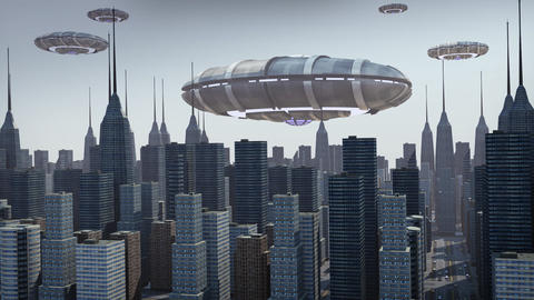 UFO's hovering above city Animation