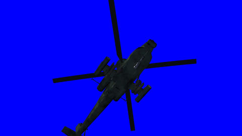 Apache helicopter landing. Including bluescreen Animation