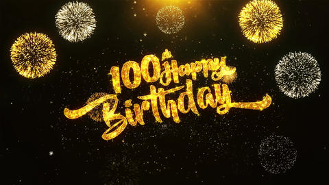 100th Happy Birthday Text Greeting, Wishes, Celebration, invitation Background GIF