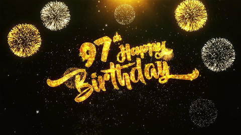 97th Happy Birthday Text Greeting, Wishes, Celebration, invitation Background Footage