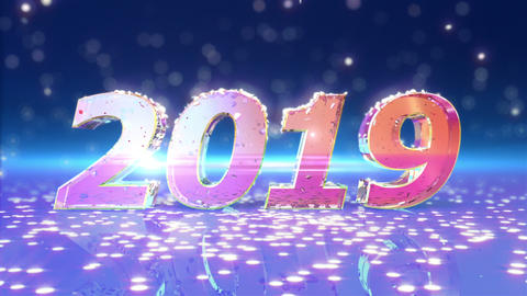 New Year 2019 Animation Stock Video Footage