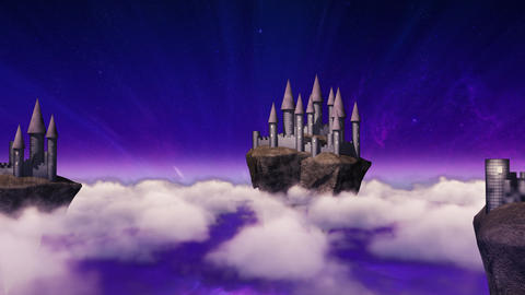 Sky-castles hovering above clouds Animation