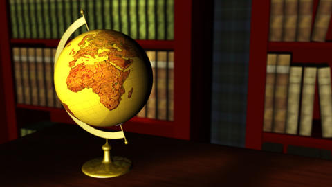 Old globe in a classic library Animation